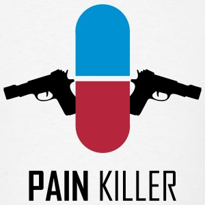 PAIN KILLER (Pill with Guns) Funny T-Shirts - Men's T-Shirt