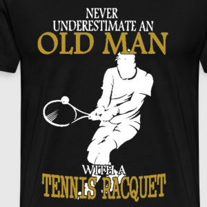 Old Man With Tennis Racquet - Men's Premium T-Shirt