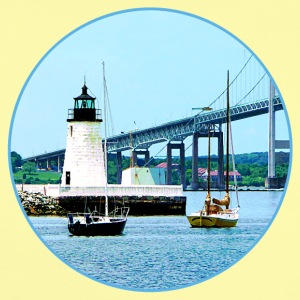 Lighthouse, Bridge and Boats, Newport, RI Baby Bodysuits - Short Sleeve Baby Bodysuit