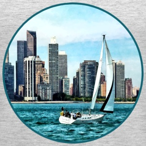 Chicago IL - Sailboat Against Chicago Skyline Tanks - Women's Premium Tank Top