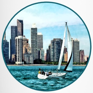 Chicago IL - Sailboat Against Chicago Skyline Mugs & Drinkware - Travel Mug