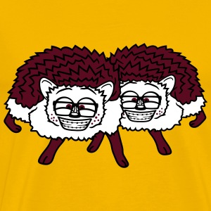 2 friends team nerd geek hornbrille pimple freak c T-Shirts - Men's Premium T-Shirt