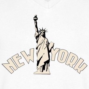 New York T-Shirts - Men's V-Neck T-Shirt by Canvas