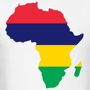 Mauritius Flag In Afric Map T-Shirt - Men's T-Shirt