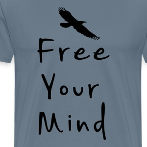 Free your mind text design with bird silhouette - Men's Premium T-Shirt