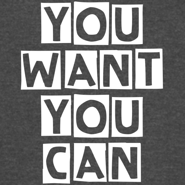 """Vintage Sport T-Shirt """"You Want You Can"""" - Black"""