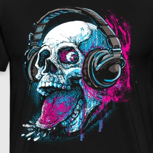 Skull With Headphones Sticks Out Tongue - Men's Premium T-Shirt