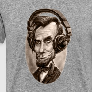 Abe Lincoln With Music Headphones - Men's Premium T-Shirt