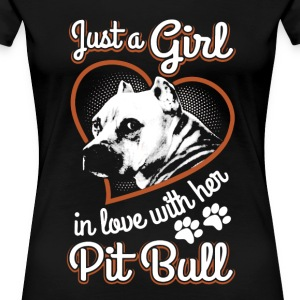Girl In Love With Her Pitbull - Women's Premium T-Shirt