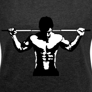 Weightlifting Muscle Sports Art Design T-Shirts - Women´s Rolled Sleeve Boxy T-Shirt