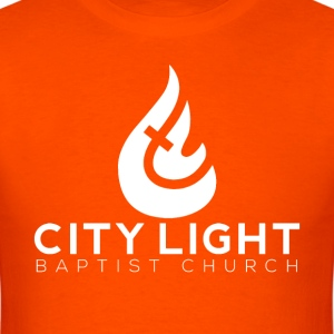 City Light Big Flame White Logo T-Shirt - Men's T-Shirt