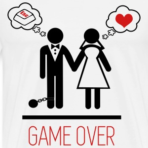 game over marriage funny - couples T-Shirts - Men's Premium T-Shirt