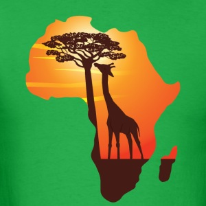African Giraffe African Safari Africa map  t-shirt - Men's T-Shirt