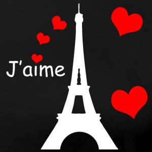 J'aime Eiffel Tower & Hearts White Text T-Shirts - Women's Premium T-Shirt
