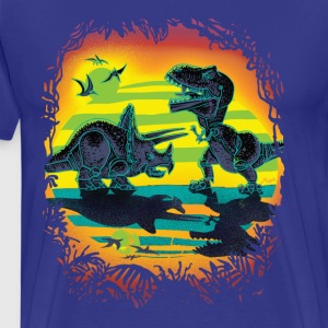 Dinosaur Battle at Dawn - Men's Premium T-Shirt