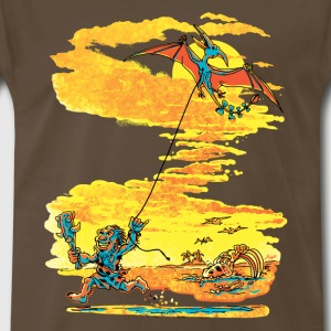 Caveman Flying Pterodactyl Kite - Men's Premium T-Shirt