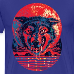 Blood Red Moon Wolf - Men's Premium T-Shirt