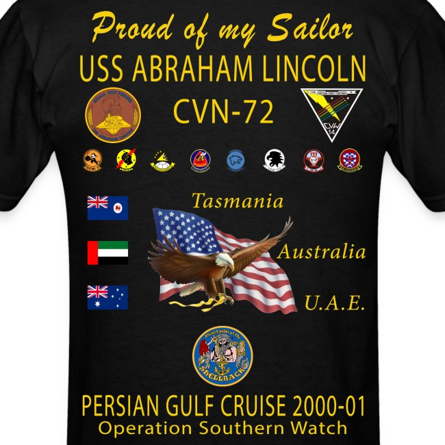 USS ABRAHAM LINCOLN CVN-72 PERSIAN GULF CRUISE 2000-01 CRUISE SHIRT - FAMILY EDITION
