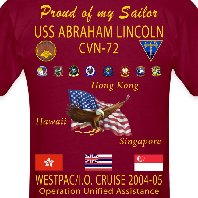 USS ABRAHAM LINCOLN CVN-72 WESTPAC 2004-05 CRUISE SHIRT - FAMILY EDITION