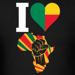 I Love Benin Flag Black Power Africa Map T-Shirt - Men's T-Shirt