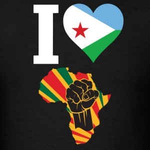I Love Djibouti Flag Africa Black Power T-Shir - Men's T-Shirt