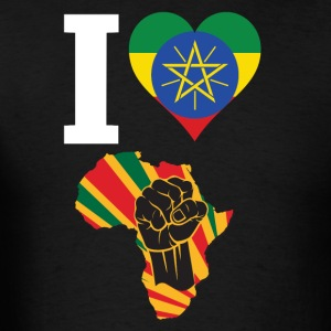 I Love Ethiopia Flag Africa Black Power T-Shirt - Men's T-Shirt