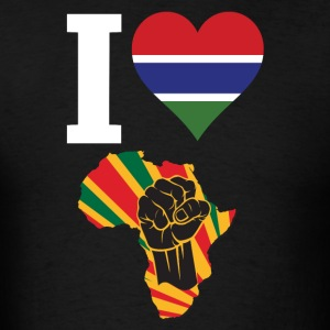 I Love Gambia Flag Africa Black Power T-Shirt - Men's T-Shirt