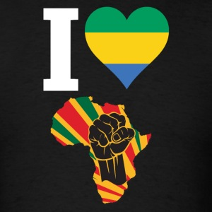 I Love Gabon Flag Africa Black Power T-Shirt - Men's T-Shirt