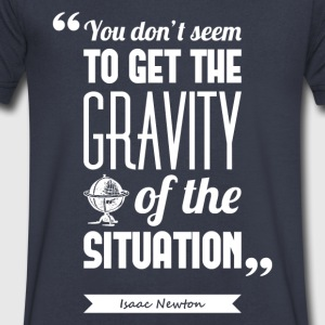 Newton's gravity | V-neck shirt quote ♂ - Men's V-Neck T-Shirt by Canvas