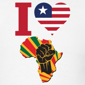 I Love Liberia Flag Africa Black Power T-SHIRT - Men's T-Shirt