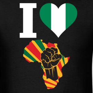 I Love Nigeria Flag Africa Black Power  T-Shirt - Men's T-Shirt