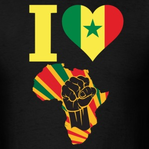 I Love Senegal Flag Africa Black Power T-Shirt - Men's T-Shirt