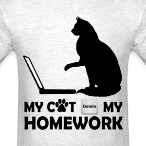 My cat deleted my homework - Men's T-Shirt