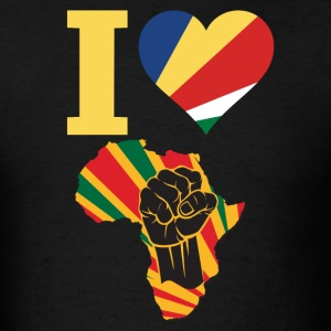 I Love Seychelles Flag Africa Black Power T-Shirt - Men's T-Shirt
