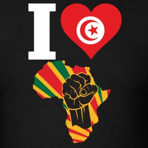 I Love Tunisia Flag Africa Black Power T-Shirt - Men's T-Shirt