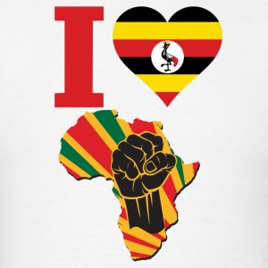 I Love Uganda Flag Africa Black Power T-Shirt - Men's T-Shirt