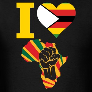 I Love Zimbabwe Flag Black Power T-Shirt - Men's T-Shirt