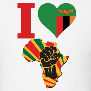 I Love Zambia Flag Africa Black Power T-Shirt - Men's T-Shirt