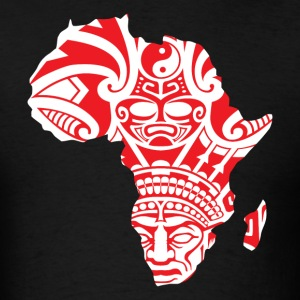 African Traditional Mask In Africa Map T-Shirt - Men's T-Shirt