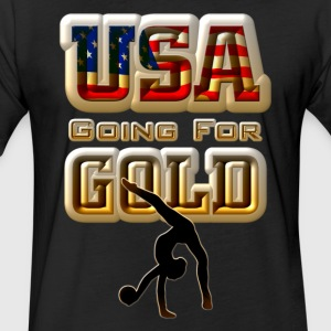USA Going For GOLD Gymnastics Mens Fitted Poly T-S - Fitted Cotton/Poly T-Shirt by Next Level