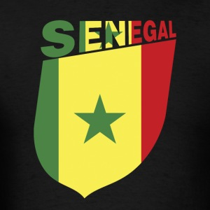 Senegal Flag Cliped Inside a Shield - Men's T-Shirt
