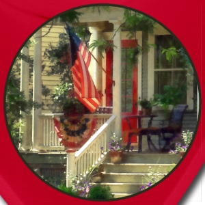 House With Bunting and American Flag Caps - Bandana