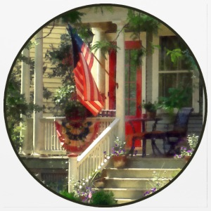 House With Bunting and American Flag Other - Mouse pad Horizontal