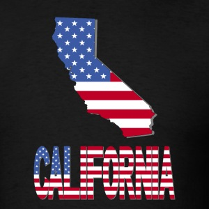 USA Flag Clipped In California Map T-Shirt - Men's T-Shirt