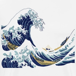 Hokusai Great Wave off Kanagawa (White Version) T- - Men's Premium T-Shirt