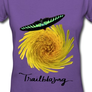 Trailblazer Butterfly Women's V-Neck Purple Tee - Women's V-Neck T-Shirt