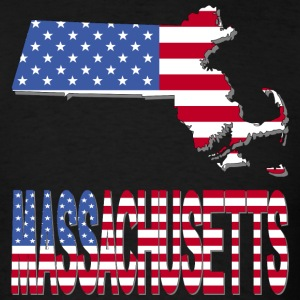 Massachusetts Map With US flag - Men's T-Shirt