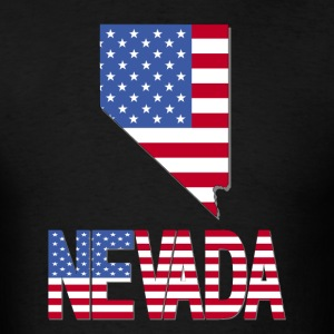 Nevada Map With US Flag Clipped Inside - Men's T-Shirt
