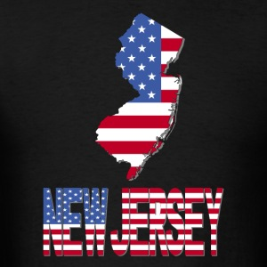 New Jersey Map With US Flag T-Shirt - Men's T-Shirt