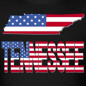 Tennessee Map With American Flag T-Shirt - Men's T-Shirt